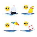 Illustrazione di vettore di arte dell'icona della spiaggia Fotografie Stock Libere da Diritti