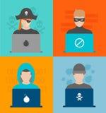 Illustrazione di vettore di attività dei pirati informatici Fotografia Stock Libera da Diritti