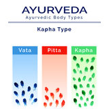 Illustrazione di vettore di Ayurveda Doshas di Ayurveda nella struttura dell'acquerello Immagini Stock Libere da Diritti