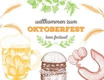Illustrazione di vettore di birra Materia prima per fare Insieme del menu del pub Salsiccie ed hamburger dello spuntino Fotografie Stock Libere da Diritti