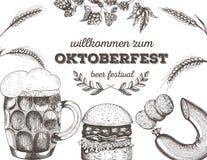 Illustrazione di vettore di birra Materia prima per fare Menu del pub insieme Salsiccie ed hamburger dello spuntino Fotografie Stock