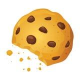 Illustrazione di vettore di Chip Cookies With Bite Mark del cioccolato Fotografia Stock