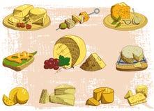 Illustrazione di vettore di colore del vassoio del formaggio Immagine Stock Libera da Diritti