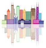 Illustrazione di vettore di colore dell'orizzonte della città di Chicago Immagine Stock