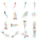 Illustrazione di vettore di Computercolorful del set di cavi del cavo della spina Immagini Stock