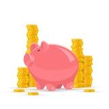 Illustrazione di vettore di concetto dei soldi di risparmio Porcellino salvadanaio rosa con i mucchi dorati della moneta su fondo Immagini Stock