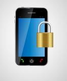 Illustrazione di vettore di concetto del telefono di sicurezza Fotografie Stock Libere da Diritti