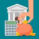 Illustrazione di vettore di concetto dell'cassa di pensione in piano Immagini Stock Libere da Diritti