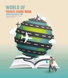 Illustrazione di vettore di concetto della guida del libro aperto di progettazione di viaggio intorno al mondo Fotografie Stock Libere da Diritti