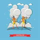 Illustrazione di vettore di concetto di biathlon nello stile piano Immagine Stock Libera da Diritti
