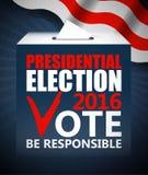 Illustrazione di vettore di concetto di giorno di elezioni presidenziali di U.S.A. Mettendo scheda di votazione nell'urna con la  Fotografia Stock