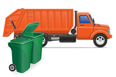 Illustrazione di vettore di concetto di rimozione dell'immondizia del camion del carico Fotografia Stock