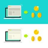 Illustrazione di vettore di conversione del sito Web, concetto di reddito di tasso, ottimizzazione, annunciante Immagini Stock
