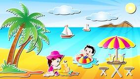 Illustrazione di vettore di divertimento della spiaggia di estate Immagini Stock