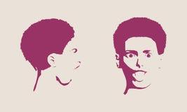 Illustrazione di vettore di emozioni del fronte di espressioni dell'avatar della donna Fotografia Stock