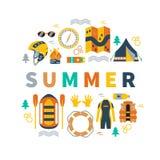 Illustrazione di vettore di estate con il rafting e l'attrezzatura di campeggio Fotografia Stock