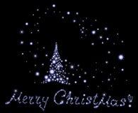 Illustrazione di vettore di festa con il Buon Natale dell'albero e del testo del fiocco di neve! Fotografia Stock Libera da Diritti
