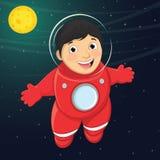 Illustrazione di vettore di giovane astronauta Floating del ragazzo nello spazio Immagini Stock