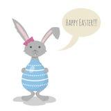 Illustrazione di vettore di Grey Easter Bunny sveglio Fotografia Stock