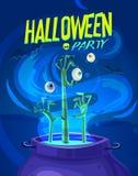 Illustrazione di vettore di Halloween - la strega cucina il veleno Immagine Stock