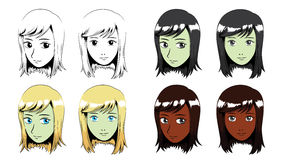 Illustrazione di vettore di Manga Long Hair Girl Stroke Fotografie Stock