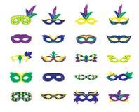 Illustrazione di vettore di Mardi Gras Various Carnival Mask Immagine Stock