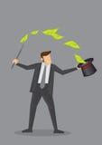 Illustrazione di vettore di Money Magic Trick dell'uomo d'affari Fotografia Stock Libera da Diritti