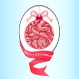 Illustrazione di vettore di Natale di una palla di Natale decorata con un modello floreale di scarabocchio di inverno illustrazione vettoriale