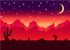 Illustrazione di vettore di notte del fondo di parallasse del deserto immagini stock