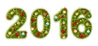 Illustrazione 2016 di vettore di numero di alfabeto di Natale Immagini Stock