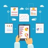 Illustrazione di vettore di ottimizzazione e dell'analisi dei dati mobili Immagini Stock