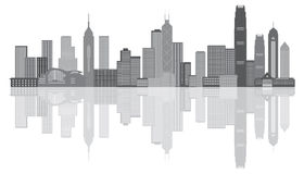 Illustrazione di vettore di panorama di Hong Kong City Skyline Grayscale Immagini Stock Libere da Diritti