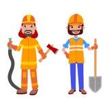 Illustrazione di vettore di professioni del costruttore e del pompiere della gente Fotografia Stock