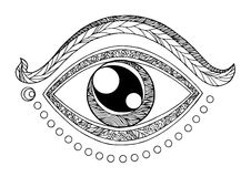 Illustrazione di vettore di progettazione del disegno di simbolo di chakra del terzo occhio Fotografia Stock