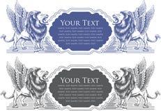 illustrazione di vettore di progettazione del distintivo del leone per la carta illustrazione vettoriale