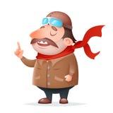 Illustrazione di vettore di progettazione del fumetto dell'icona 3d di Thick Mascot Character del pilota dell'aviatore retro Fotografia Stock Libera da Diritti