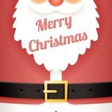 Illustrazione di vettore di progettazione del fumetto di Santa Claus Belt Greating Card Template del testo della barba Immagini Stock Libere da Diritti