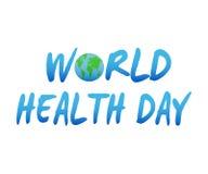 Illustrazione di vettore di progettazione del testo di concetto di giorno di salute di mondo con il globo della terra Immagini Stock Libere da Diritti
