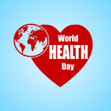 Illustrazione di vettore di progettazione del testo di concetto di giorno di salute di mondo con il globo ed il cuore della terra Fotografia Stock