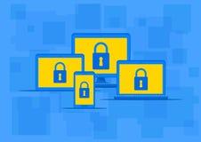 Illustrazione di vettore di protezione antivirus degli apparecchi elettronici Fotografia Stock