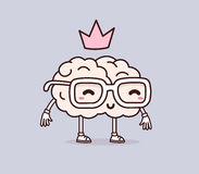 Illustrazione di vettore di retro cervello di sorriso di colore pastello con vetro fotografie stock