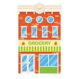 Illustrazione di vettore di retro costruzione con il negozio di alimentari facade illustrazione di stock