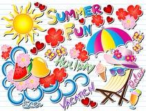 Illustrazione di vettore di scarabocchio di divertimento di estate Fotografia Stock