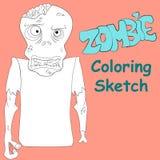 Illustrazione di vettore di schizzo di coloritura dello zombie Immagine Stock