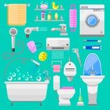 Illustrazione di vettore di simboli delle icone del bagno Fotografia Stock Libera da Diritti