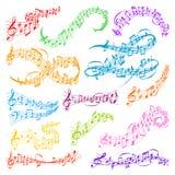 Illustrazione di vettore di simboli di melodia della nota di musica di vettore Fotografie Stock Libere da Diritti