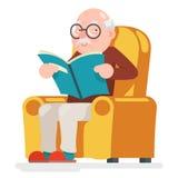 Illustrazione di vettore di Sit Adult Icon Cartoon Design del carattere dell'uomo anziano della lettura Fotografie Stock Libere da Diritti