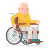 Illustrazione di vettore di Sit Adult Icon Cartoon Design del carattere dell'uomo anziano della sedia a rotelle Immagini Stock Libere da Diritti