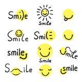 Illustrazione di vettore di sorriso Citazione ispiratrice circa felice Immagine Stock Libera da Diritti