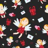 Illustrazione di vettore di stile del fumetto di angelo del cupido di Valentine Day Fotografia Stock Libera da Diritti